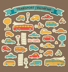 transportation doodle icon set vector image