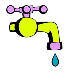 Water faucet icon cartoon vector