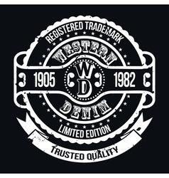 Western Denim T-shirt Typography vector image vector image