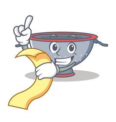 With menu colander utensil character cartoon vector