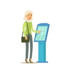 Woman taking electronic queue ticket bank service vector