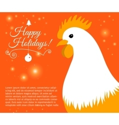 Merry christmas e-card with rooster and designed vector