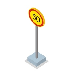 Fifty kilometres per hour speed limit sign vector