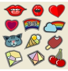 Colorful embroidery patches set vector