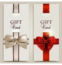 Gorgeous gift cards with bows and copy space vector