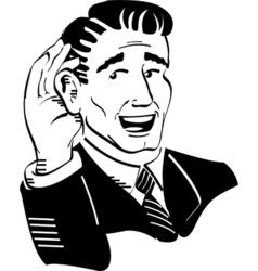 Retro guy listening vector image