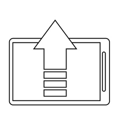 mobile phone upload arrow gadget thin line vector image