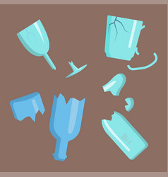 recycling garbage elements trash broken glass vector image