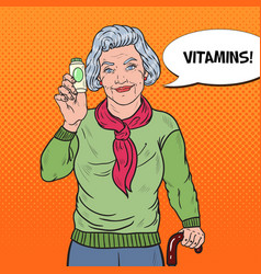 Pop art senior happy woman with pills health care vector