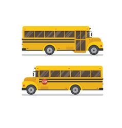 Two school bus side views vector