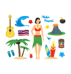 Cartoon symbol of hawaii color icons set vector