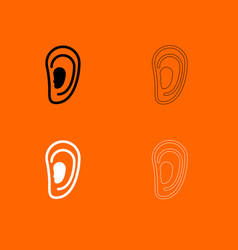 ear black and white set icon vector image