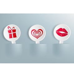 Valentines Day symbols on the labels vector image