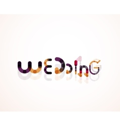 Wedding word font concept design vector