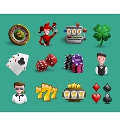 Casino cartoon icons set vector