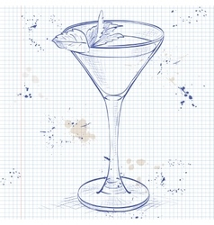Cocktail alcoholic stinger on a notebook page vector