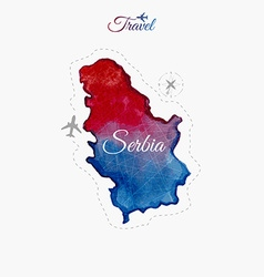 Travel around the world serbia watercolor map vector