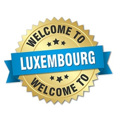 Luxembourg 3d gold badge with blue ribbon vector