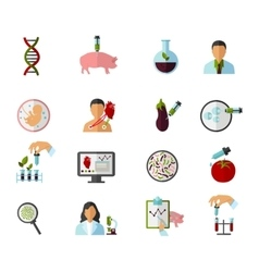 Colored biotechnology icon set vector