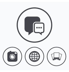 Social media icons chat speech bubble and globe vector