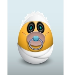 Egg baby with a pacifier vector
