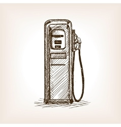 Gas station sketch style vector