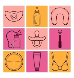 Breastfeeding flat icons on colored background vector