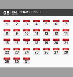 august calendar icons set date and time 2018 vector image vector image