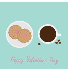 Biscuit cookie cracker with pink heart on the vector image vector image