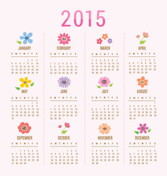 Calendar 2015 flower cute cartoon vector
