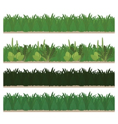 Collection of seamless green grass vector