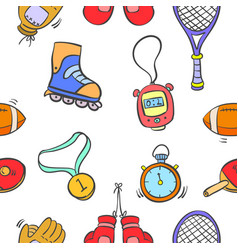 Collection sport equipment object pattern style vector