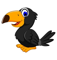 cute black bird cartoon posing vector image
