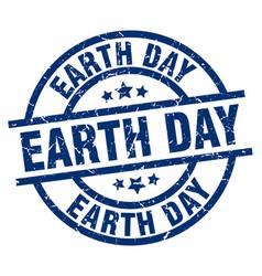 Earth day blue round grunge stamp vector