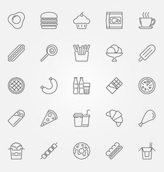 fast food icons set - junk food concept vector image