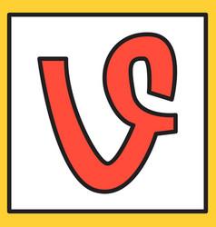 Flat of vine icon vector