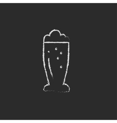 Glass of beer icon drawn in chalk vector image
