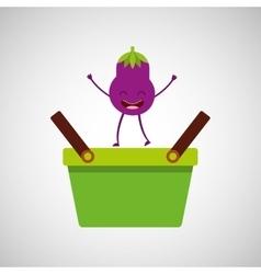 Green basket market and tasty eggplant vector