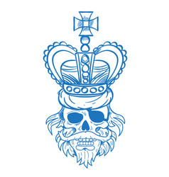 hairy pirate skull in the royal crown outline vector image