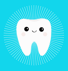 Healthy white tooth round icon with smiling face vector