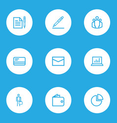 job outline icons set collection of statistics vector image vector image