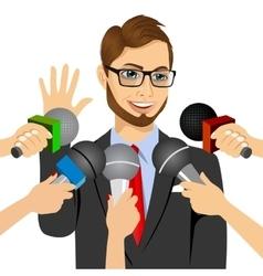 Male politician answering press questions vector