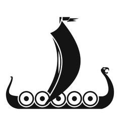 Medieval boat icon simple style vector