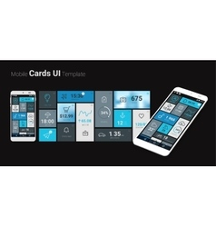 Mobile cards ui 3d mockup vector