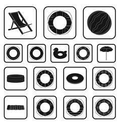 Multicolored swimming circle black icons in set vector