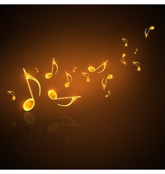 musical background with flowing golden music notes vector image