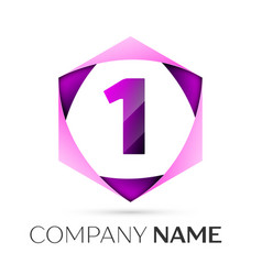Number one symbol in colorful hexagonal vector