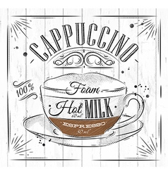 Poster cappuccino vector image vector image