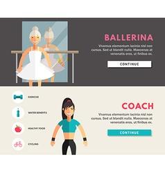 Profession concept ballerina and coach flat design vector