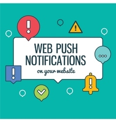 Push notifications elements linear icons set with vector image vector image